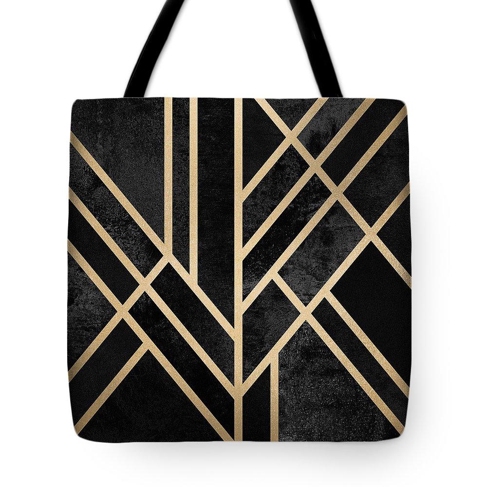 Digital Tote Bag featuring the digital art Art Deco Black by Elisabeth Fredriksson