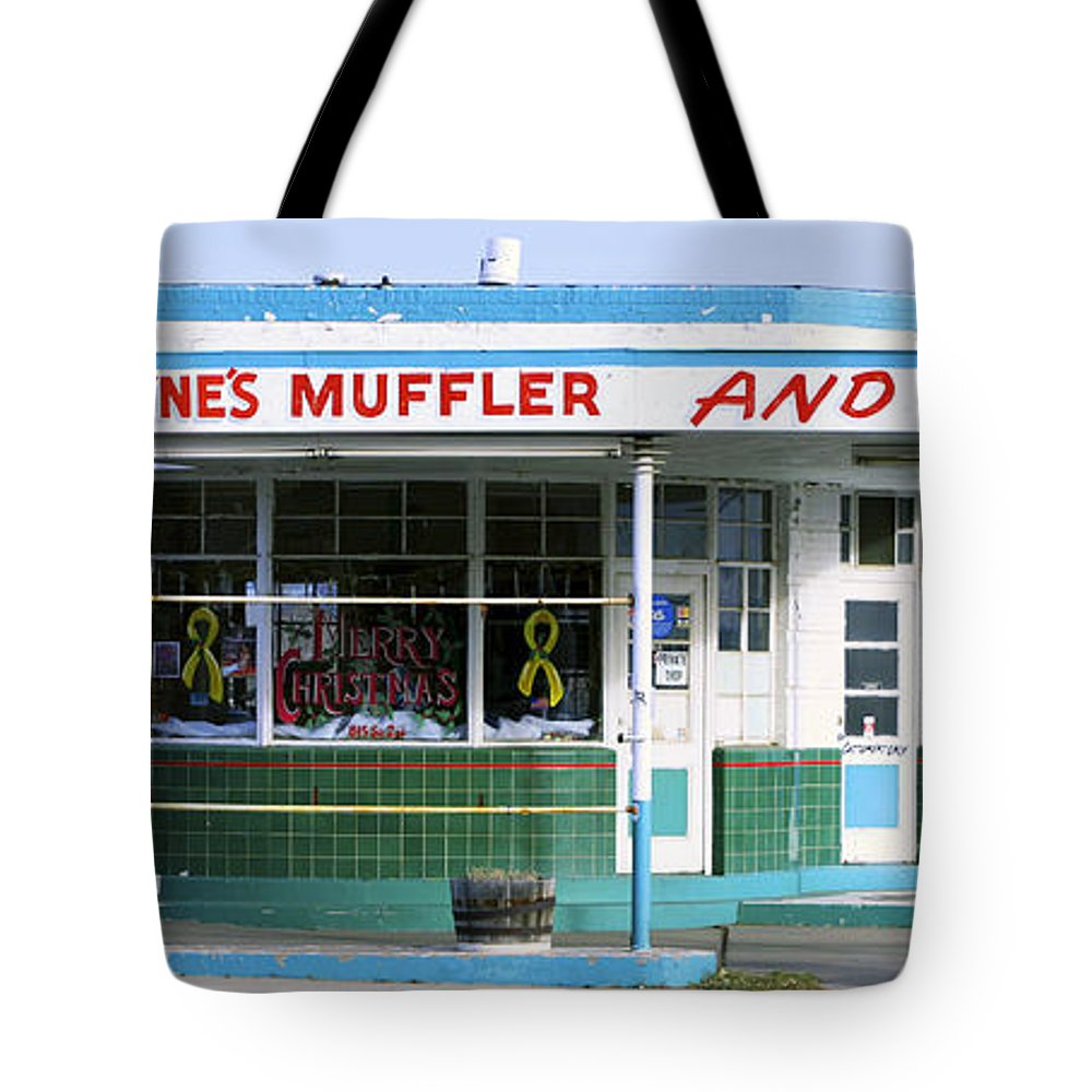 Americana Tote Bag featuring the photograph Art Deco Filling Station 1 by Marilyn Hunt