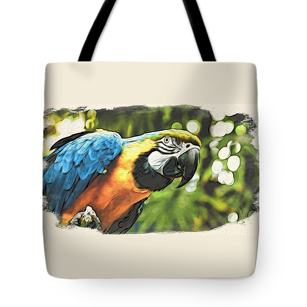 Macaw Tote Bag featuring the photograph Art In Moku Hanga Style by Cameron Wood