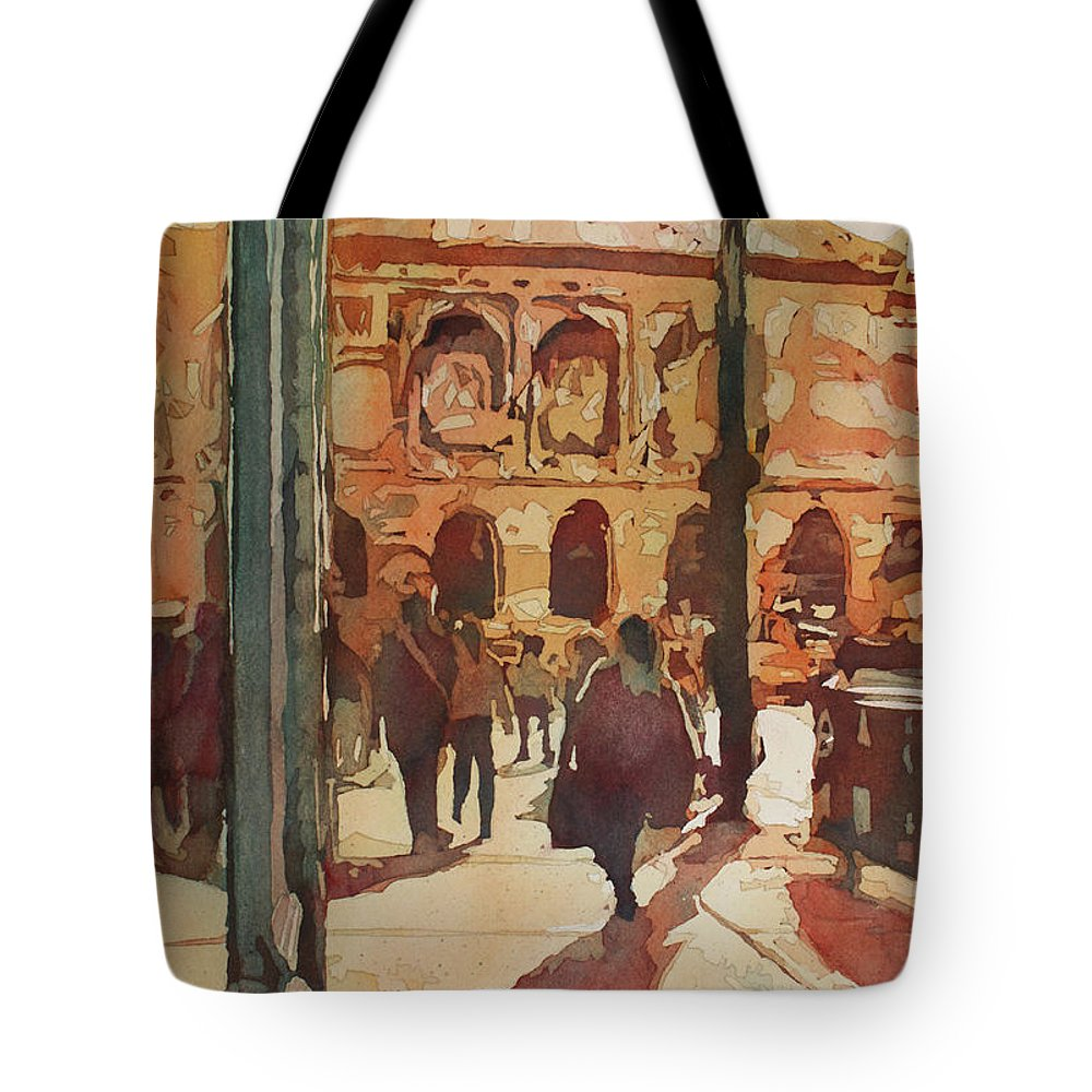 Art Institute Of Chicago Tote Bag featuring the painting Art Institute Reflected by Jenny Armitage