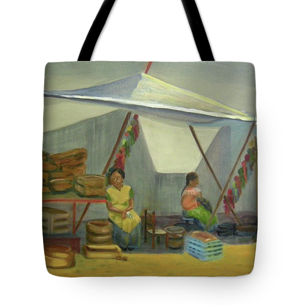 Mexico Tote Bag featuring the painting Artesanas by Lilibeth Andre