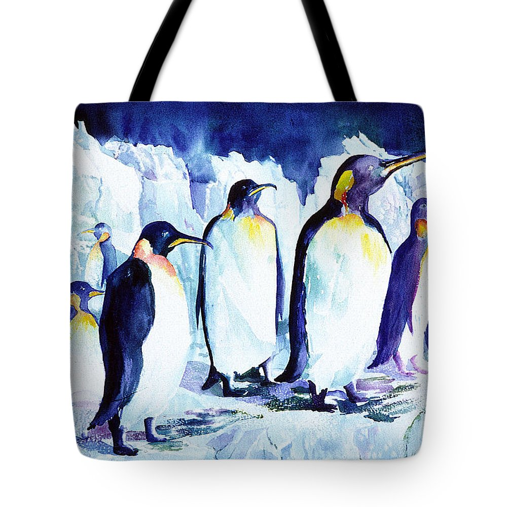 Penquins Tote Bag featuring the painting Arctic Penquins by Connie Williams