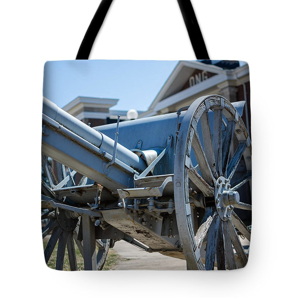 Jan Tote Bag featuring the photograph Artillery In Front Of The Armory by Jan M Holden