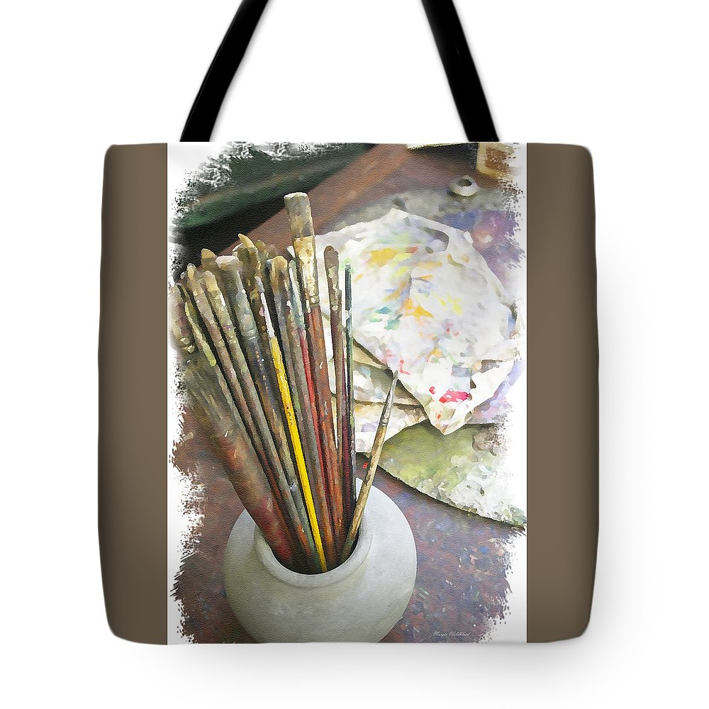 Artist Tote Bag featuring the photograph Artist Brushes by Margie Wildblood