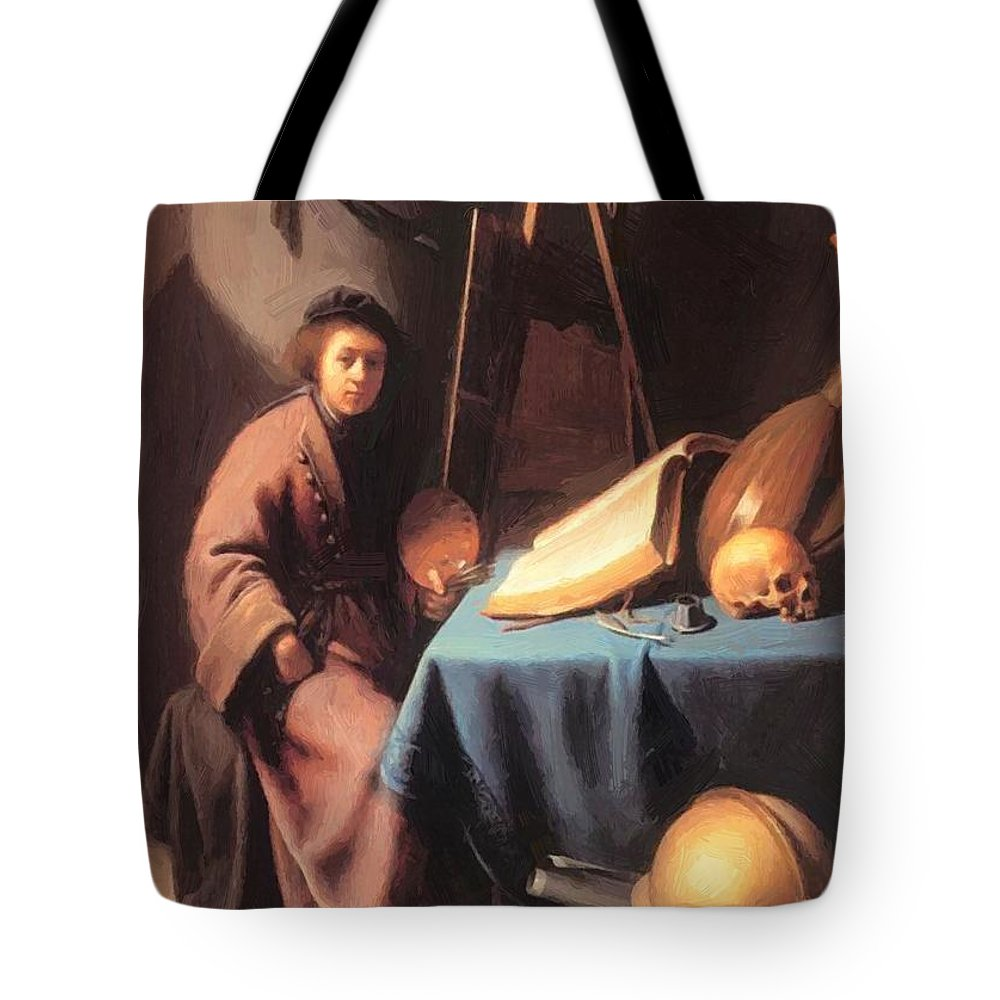 Artist Tote Bag featuring the painting Artist In His Studio 1632 by Dou Gerrit