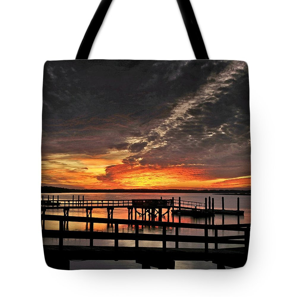 Artistic Tote Bag featuring the digital art Artistic Black Sunset by Phill Doherty
