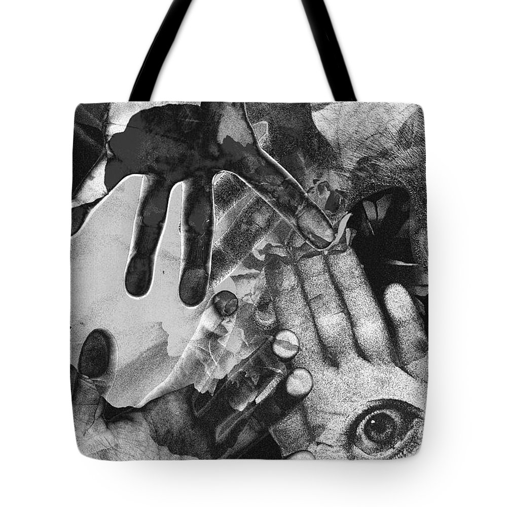 Hands Tote Bag featuring the photograph Artist's Hands by Nancy Mueller