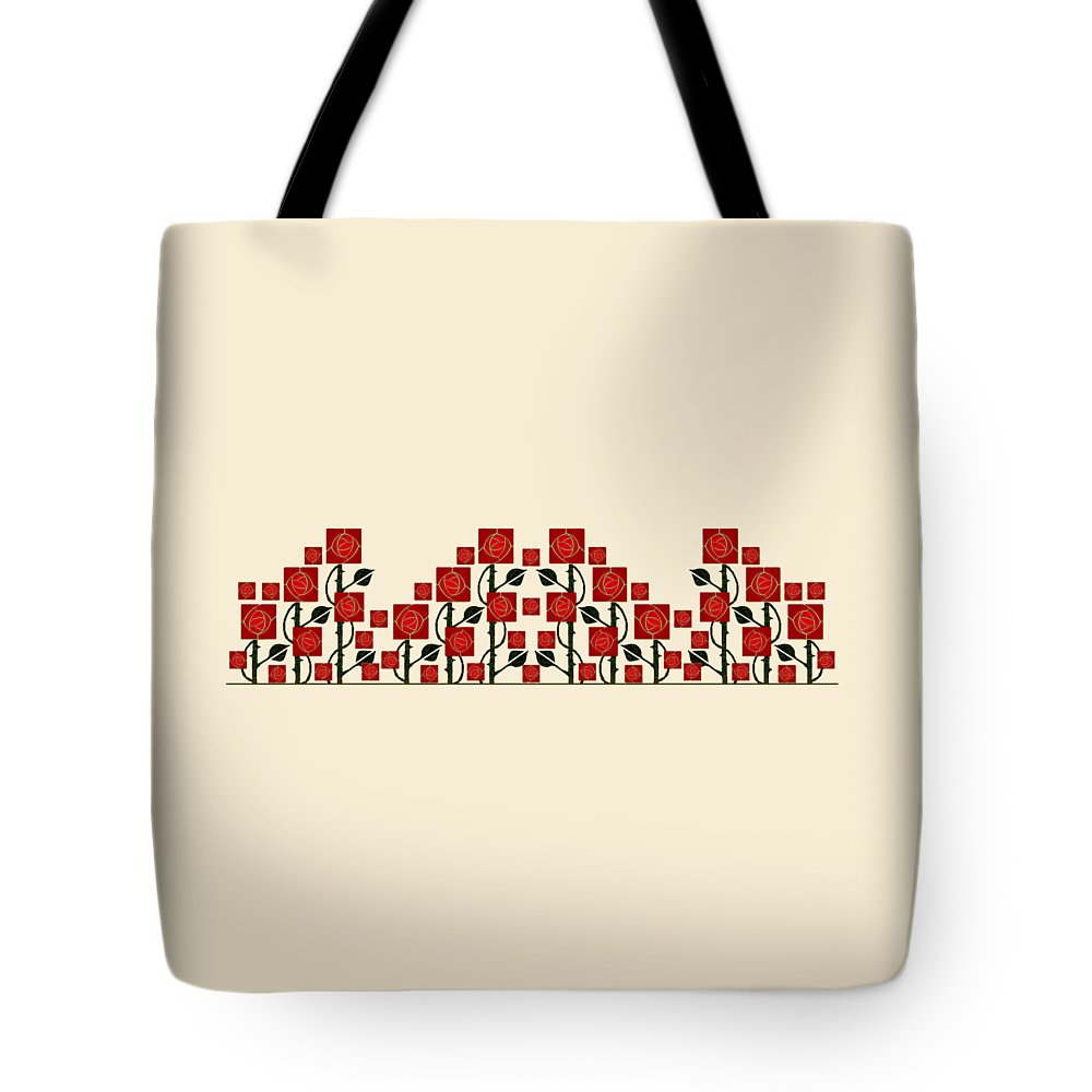 Arts & Crafts Tote Bag featuring the digital art Arts And Crafts Rose Garden by Melissa A Benson