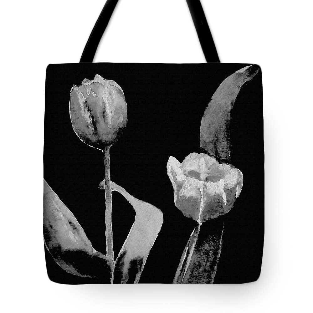 Black And White Art Tote Bag featuring the mixed media Artsy Tulips by Kathleen Sartoris