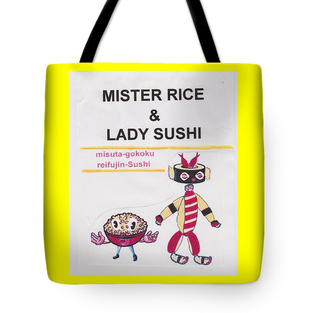 Figurative Cartoon Tote Bag featuring the mixed media Mr Rice And Lady Sushi From Wheat-shire by George Vernon