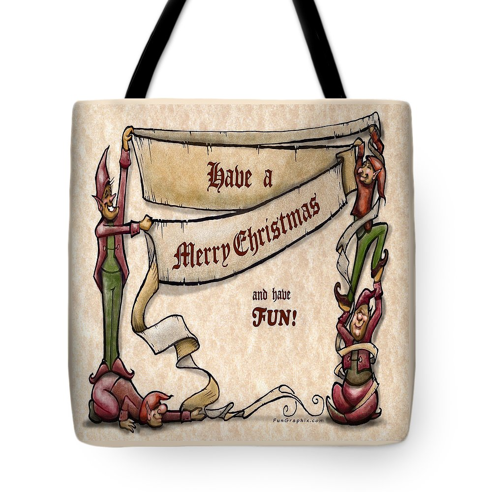 Christmas Tote Bag featuring the digital art Merry Christmas Elves by Kevin Middleton