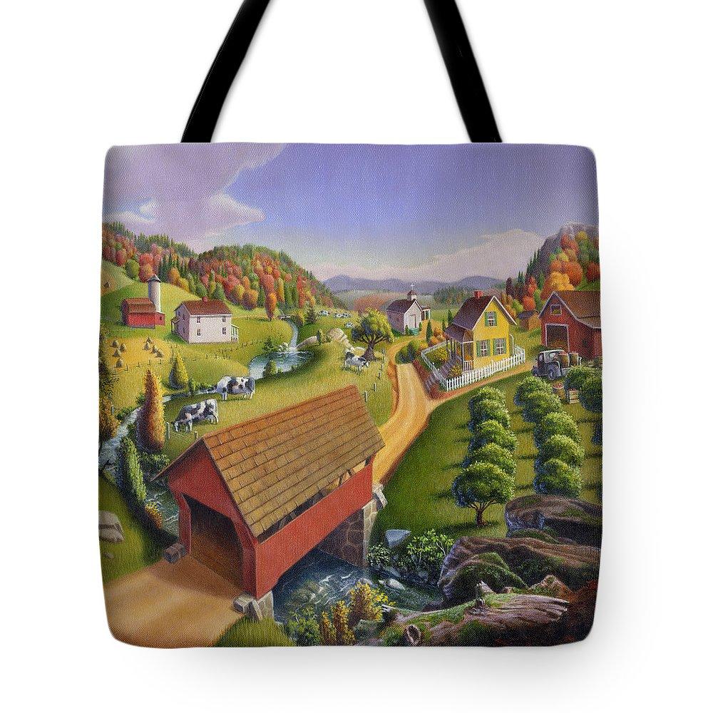 Covered Bridge Tote Bag featuring the painting Folk Art Covered Bridge Appalachian Country Farm Summer Landscape - Appalachia - Rural Americana by Walt Curlee