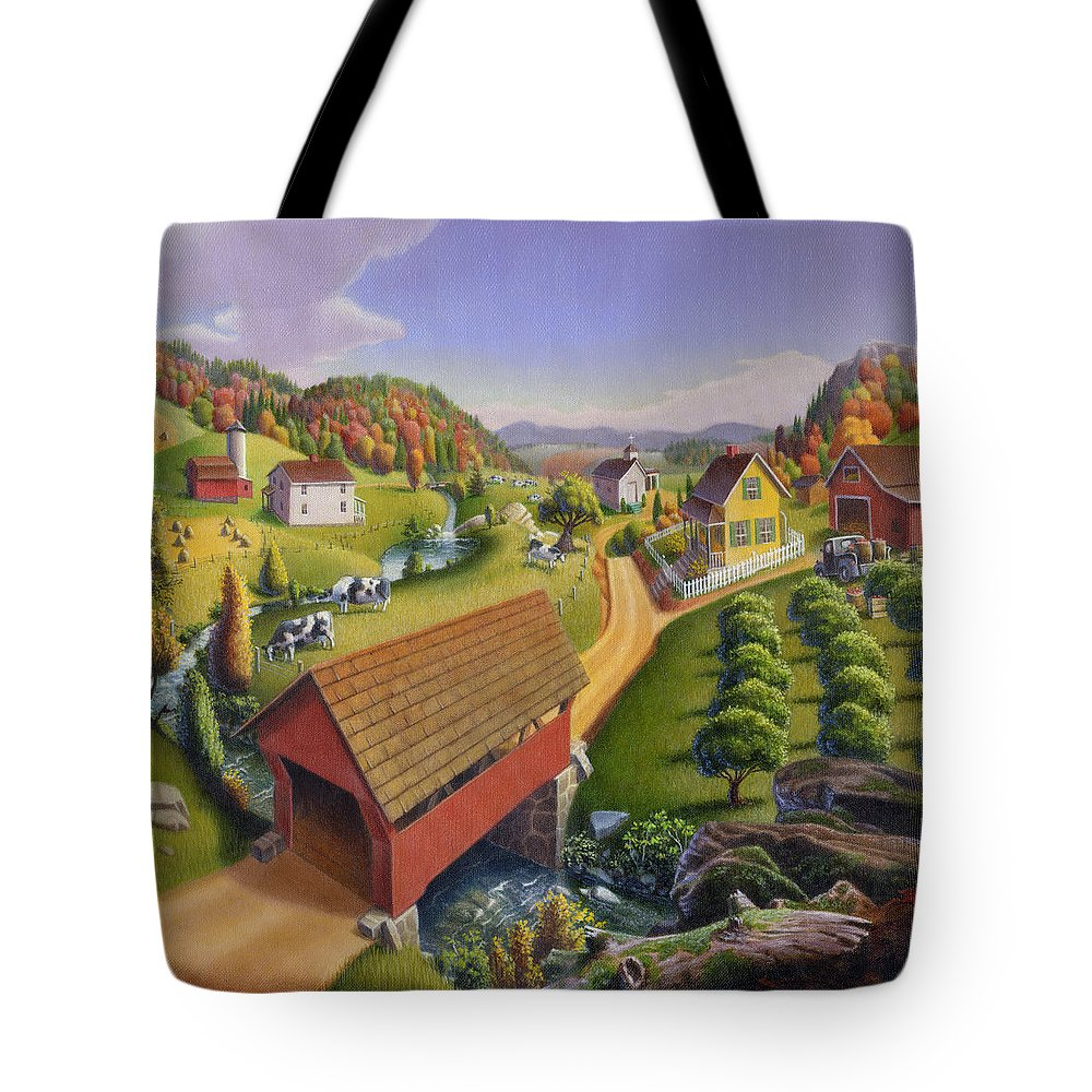 Covered Bridge Tote Bag featuring the painting Folk Art Covered Bridge Appalachian Country Farm Summer Landscape - Appalachia - Rural Americana by Walt Curlee