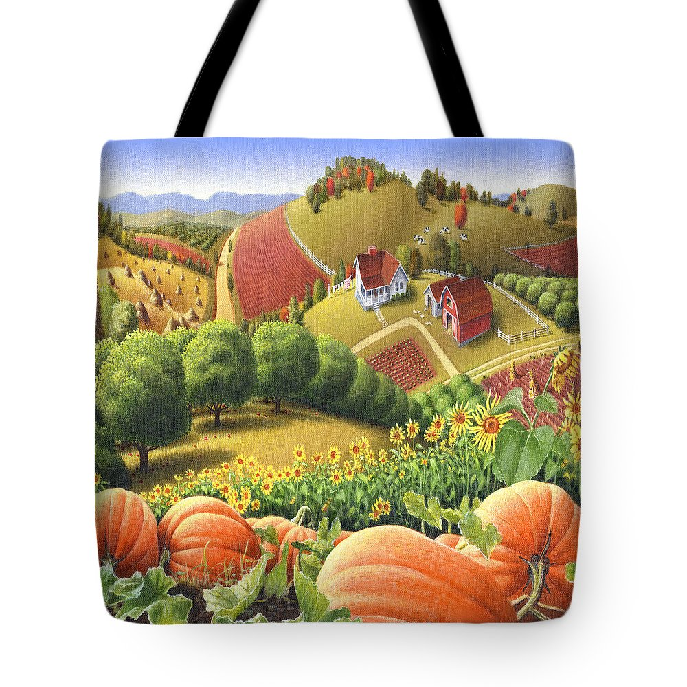 Pumpkin Tote Bag featuring the painting Farm Landscape - Autumn Rural Country Pumpkins Folk Art - Appalachian Americana - Fall Pumpkin Patch by Walt Curlee