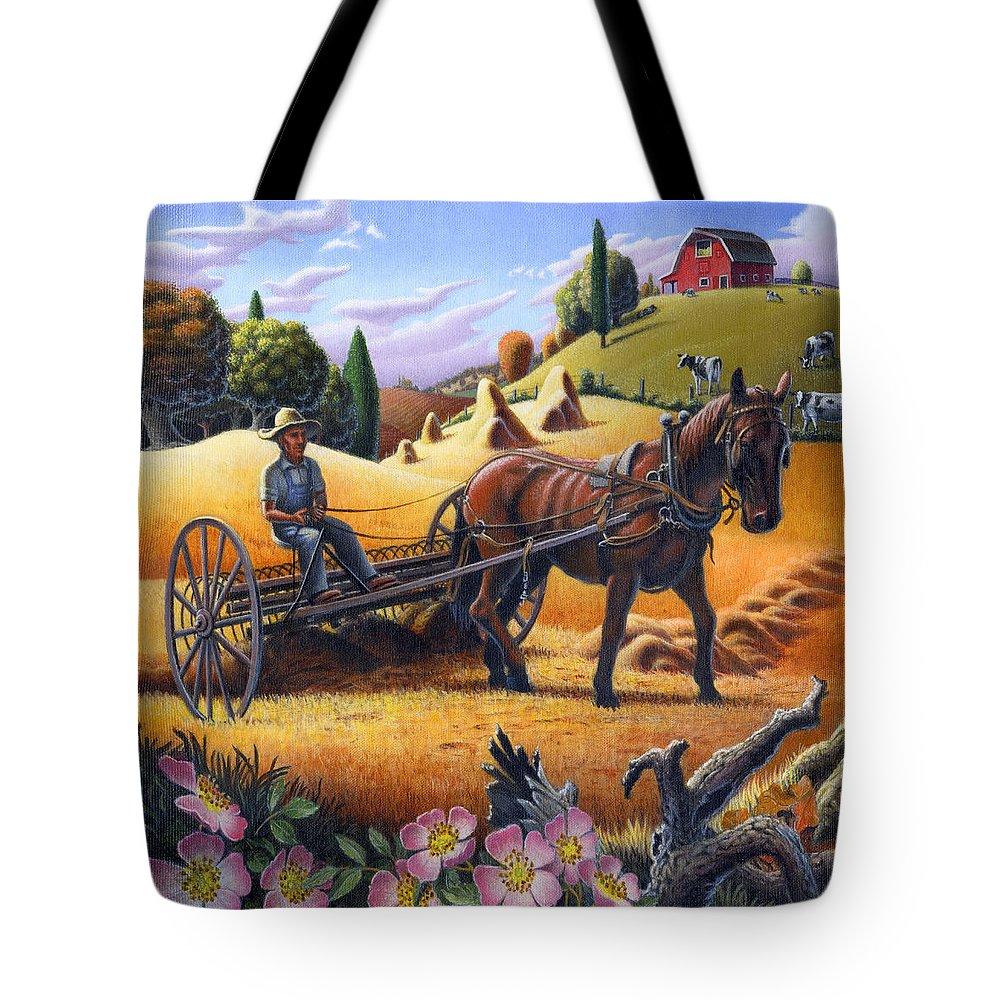 Raking Hay Tote Bag featuring the painting Raking Hay Field Rustic Country Farm Folk Art Landscape by Walt Curlee