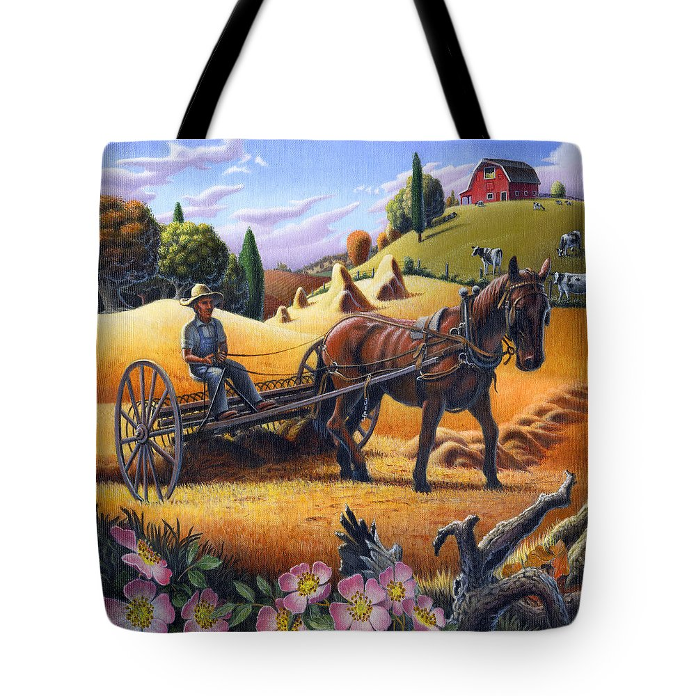 Raking Hay Tote Bag featuring the painting Raking Hay Field Rustic Country Farm Folk Art Landscape by Walt Curlee
