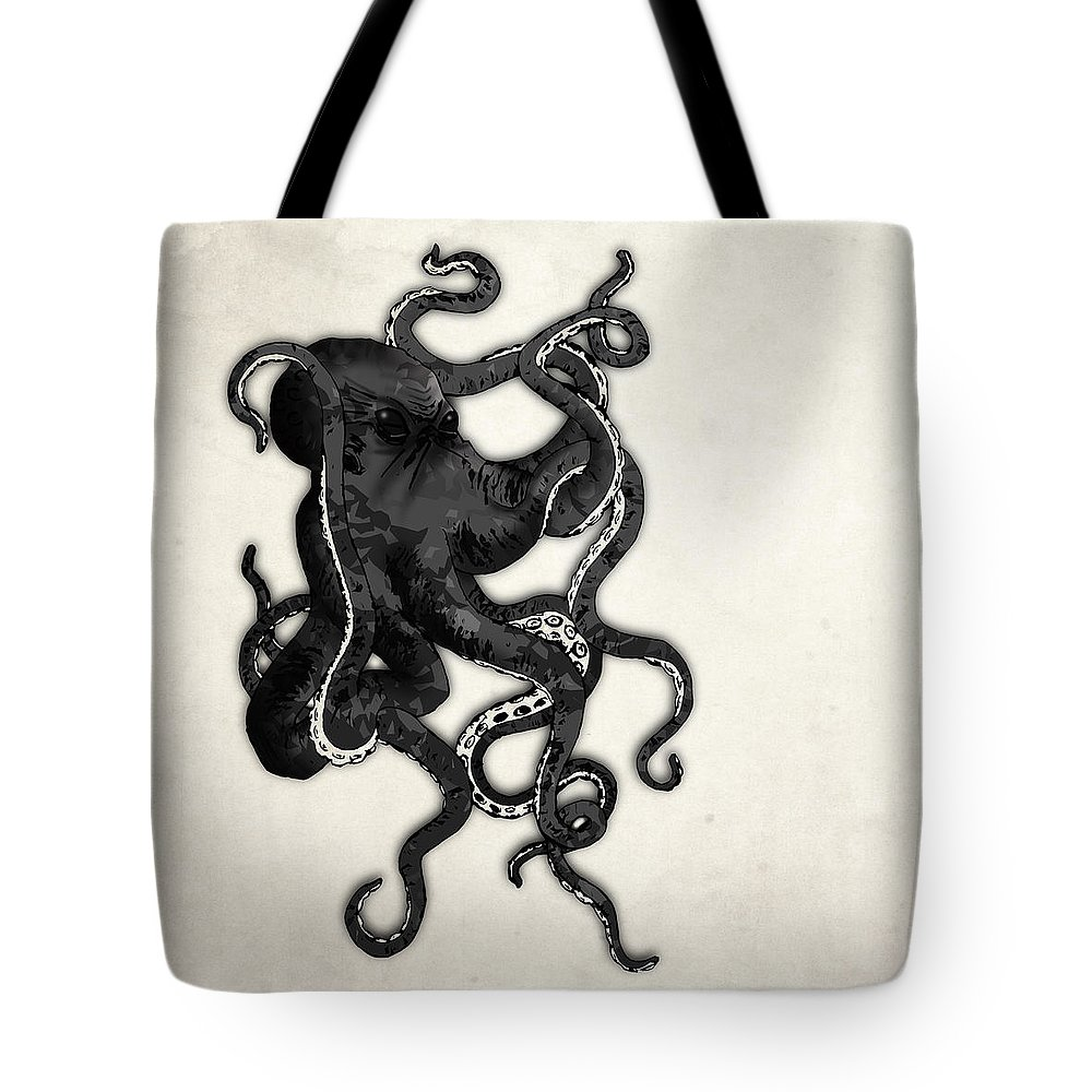 Sea Tote Bag featuring the digital art Octopus by Nicklas Gustafsson