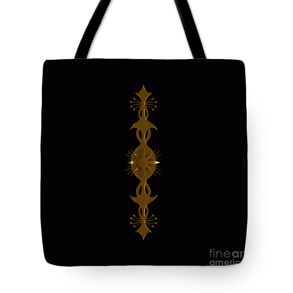 Black Tote Bag featuring the digital art Metallic Balance Brass by James Willoughby III