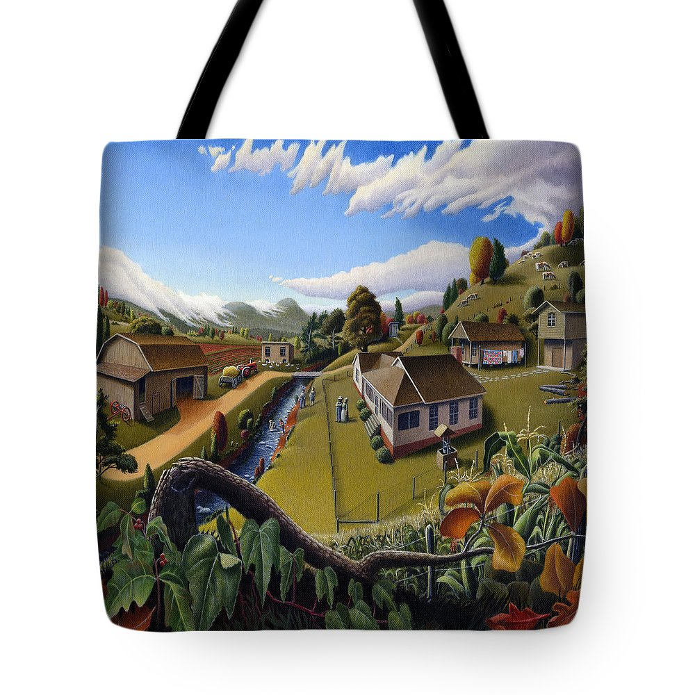 Appalachia Tote Bag featuring the painting Appalachia Summer Farming Landscape - Appalachian Country Farm Life Scene - Rural Americana by Walt Curlee