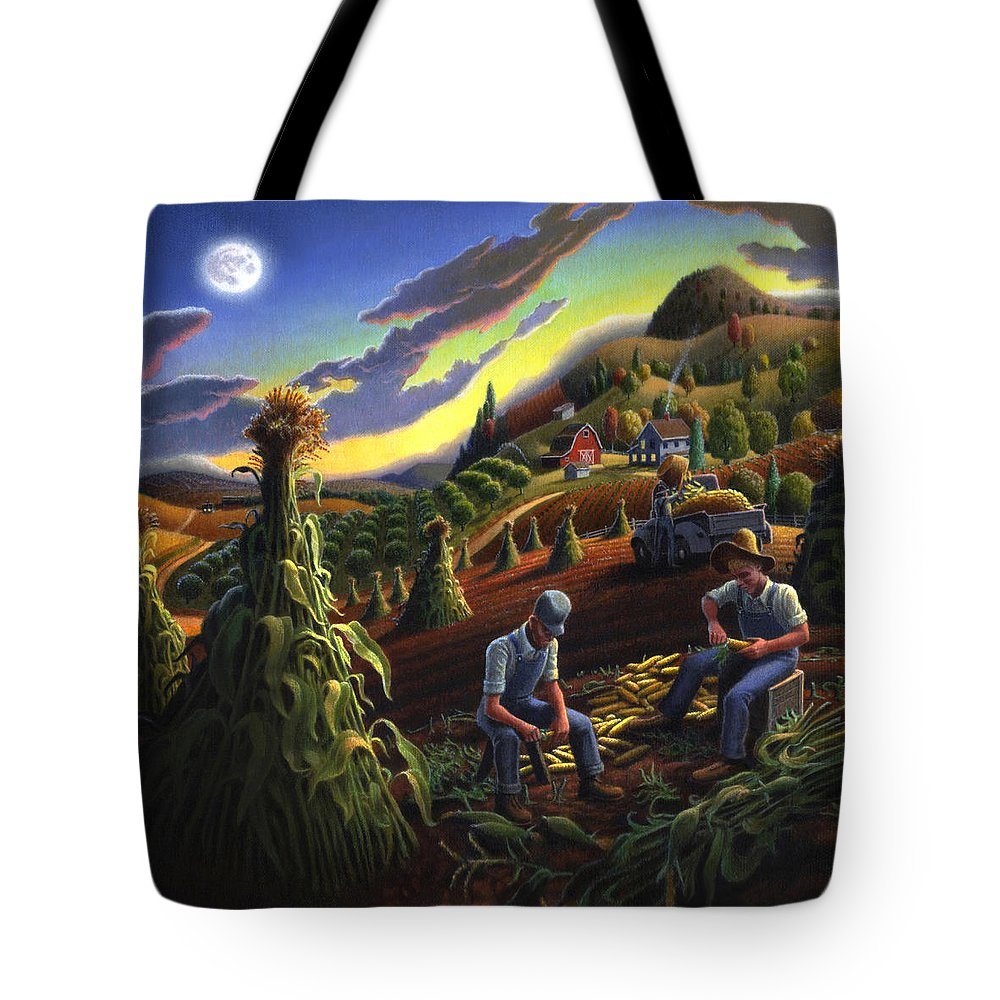 Autumn Tote Bag featuring the painting Autumn Farmers Shucking Corn Appalachian Rural Farm Country Harvesting Landscape - Harvest Folk Art by Walt Curlee