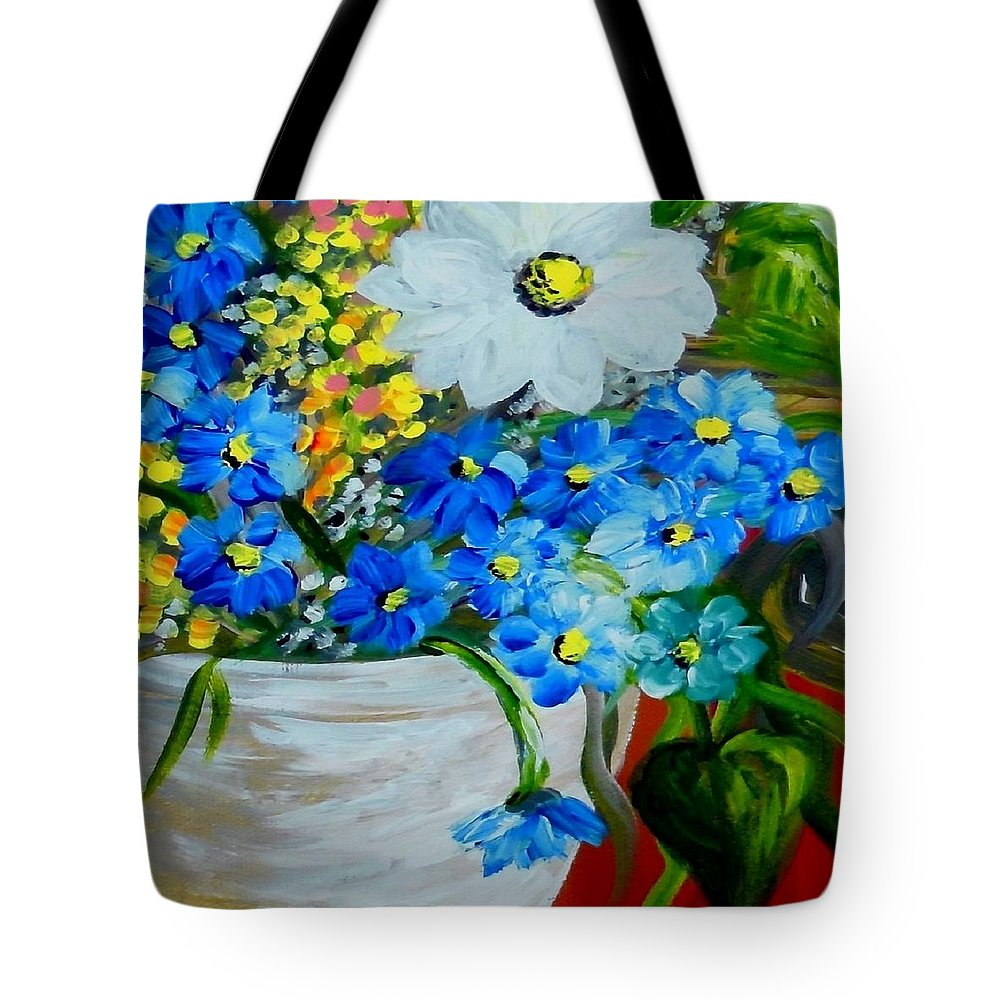 White Vase Tote Bag featuring the painting Flowers In A White Vase by Eloise Schneider Mote