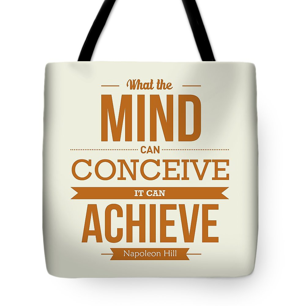Art Tote Bag featuring the digital art Napoleon Hill Typography Art Quotes poster by Lab No 4 - The Quotography Department
