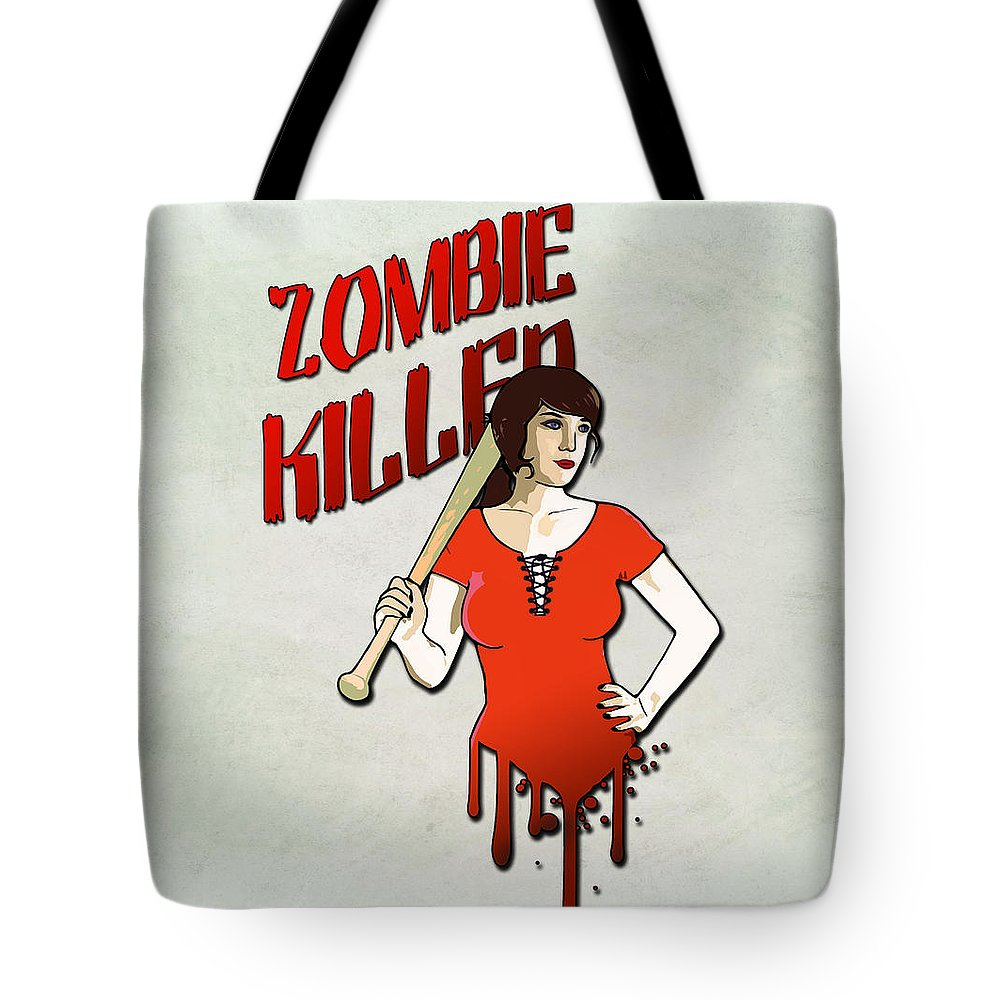 Pinup Tote Bag featuring the digital art Zombie Killer by Nicklas Gustafsson