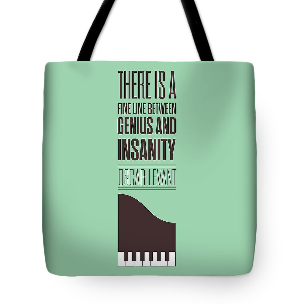 Oscar Levant Tote Bag featuring the digital art Oscar Levant inspirational Typography quotes poster by Lab No 4 - The Quotography Department
