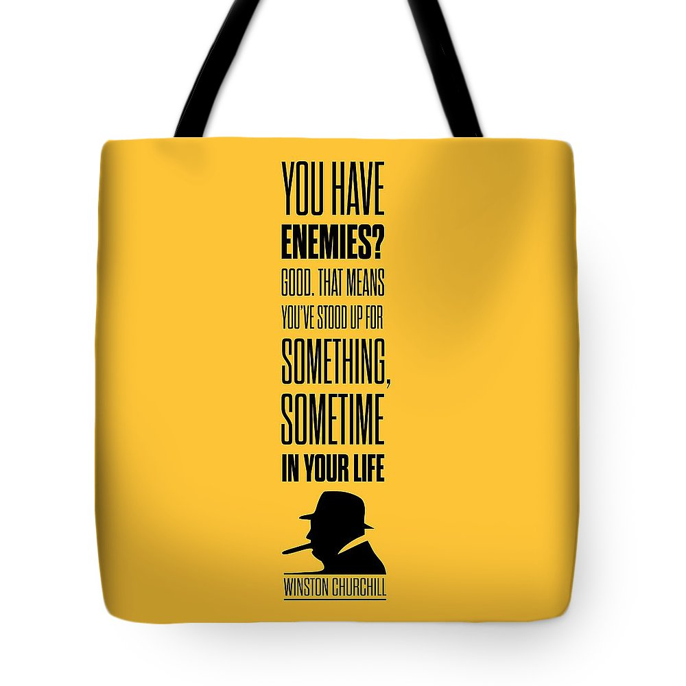 Winston Churchill Tote Bag featuring the digital art Winston Churchill Inspirational Quotes Poster by Lab No 4 - The Quotography Department
