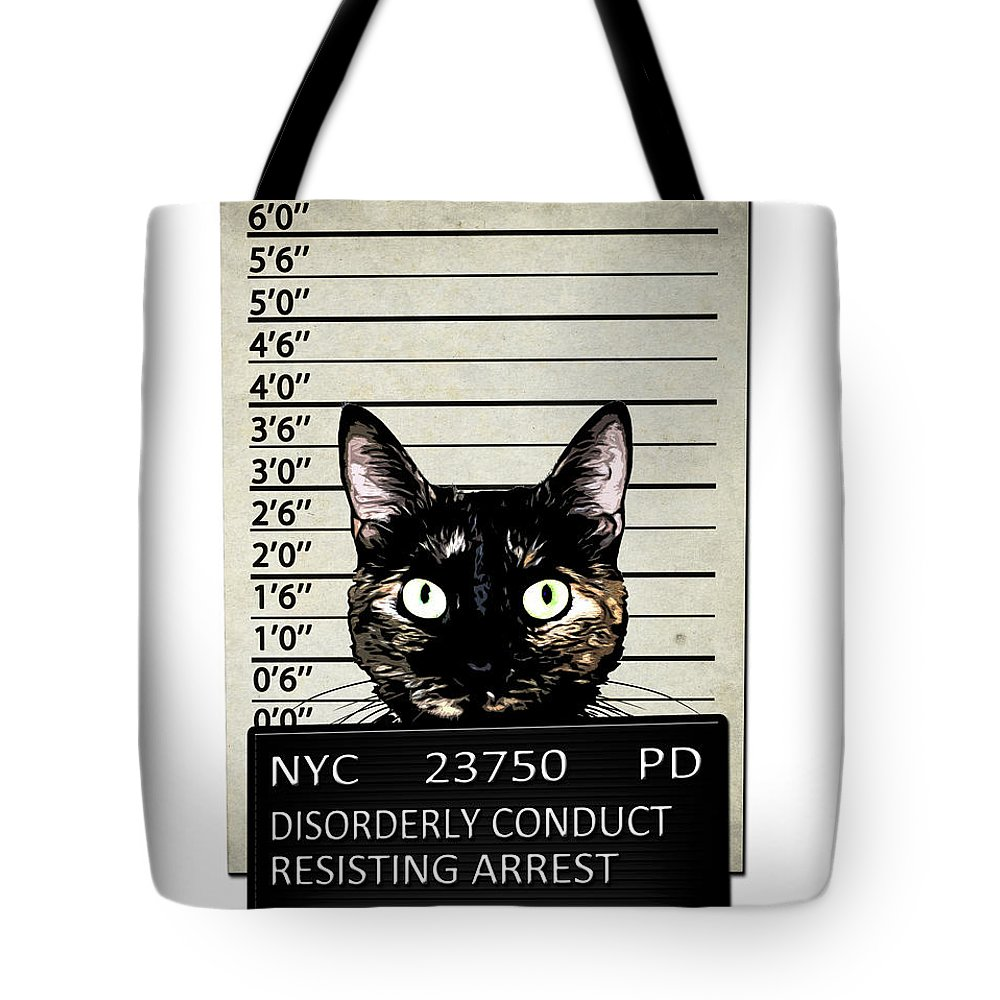Cat Tote Bag featuring the mixed media Kitty Mugshot by Nicklas Gustafsson