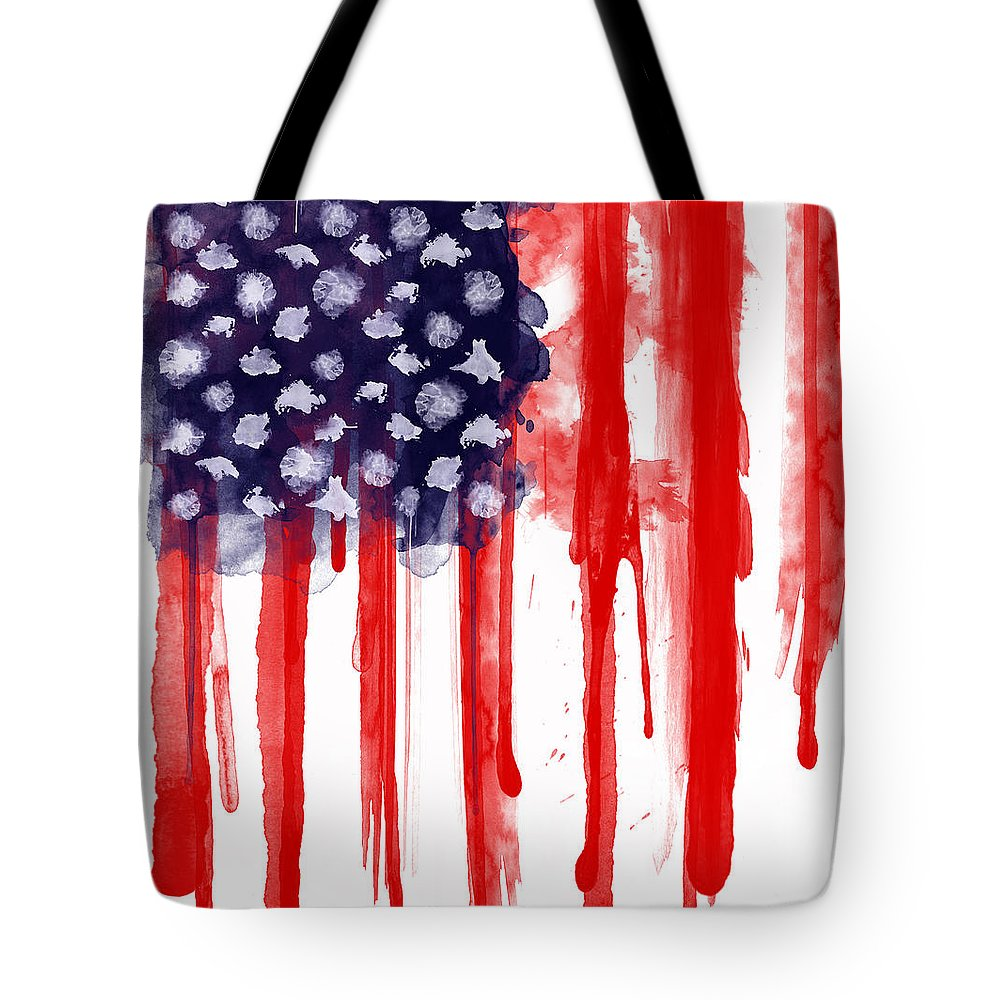 America Tote Bag featuring the painting American Spatter Flag by Nicklas Gustafsson