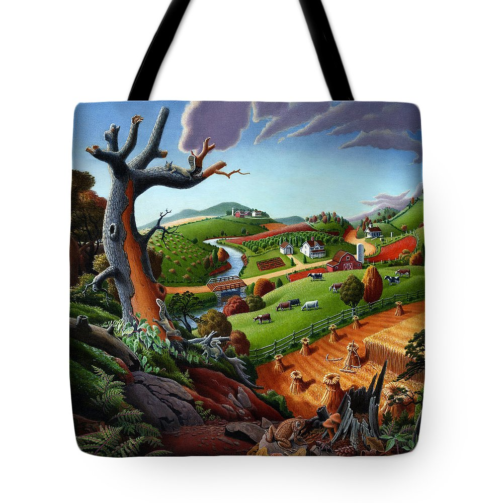 Appalachian Tote Bag featuring the painting Appalachian Fall Thanksgiving Wheat Field Harvest Farm Landscape Painting - Rural Americana - Autumn by Walt Curlee