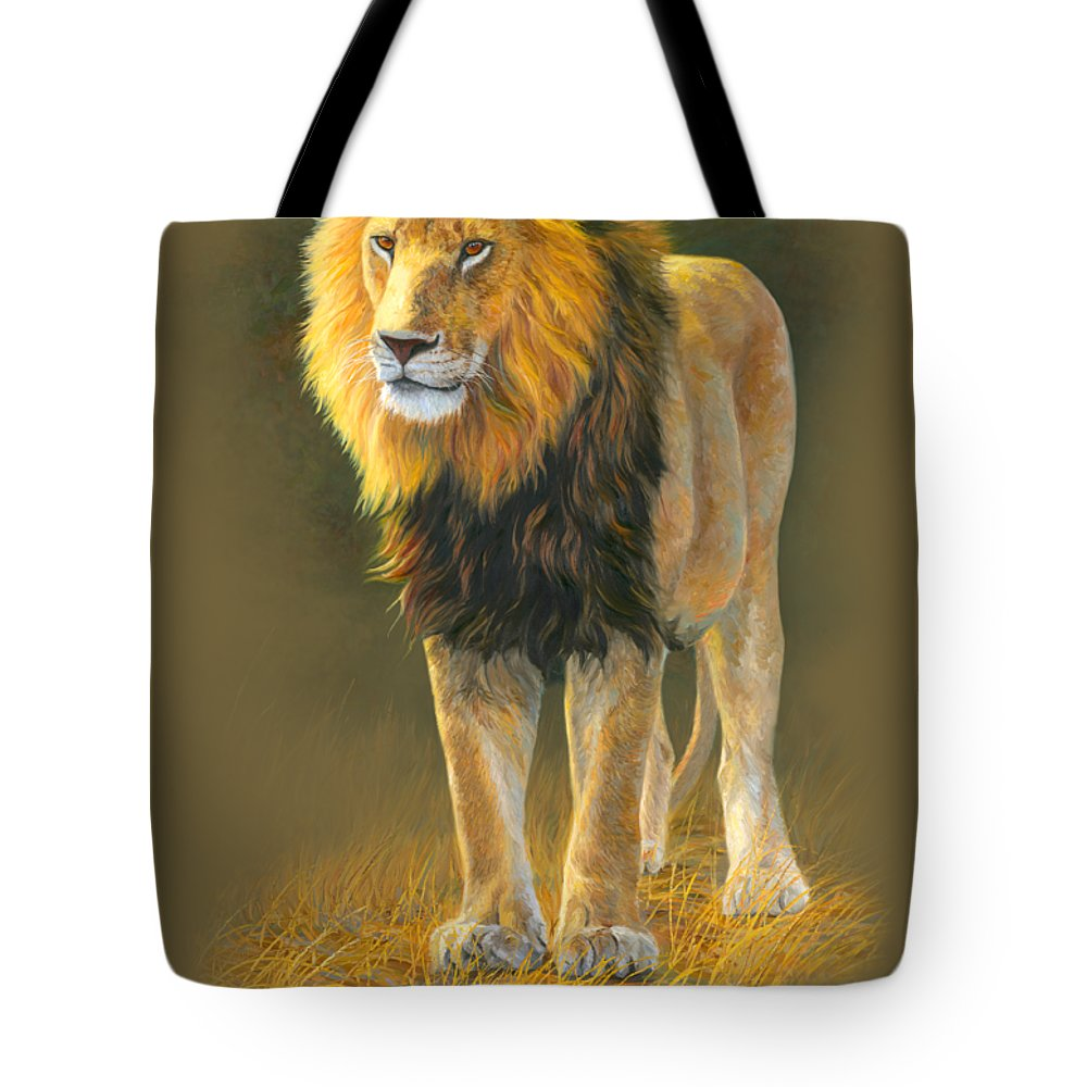Lion Tote Bag featuring the painting In His Prime by Lucie Bilodeau
