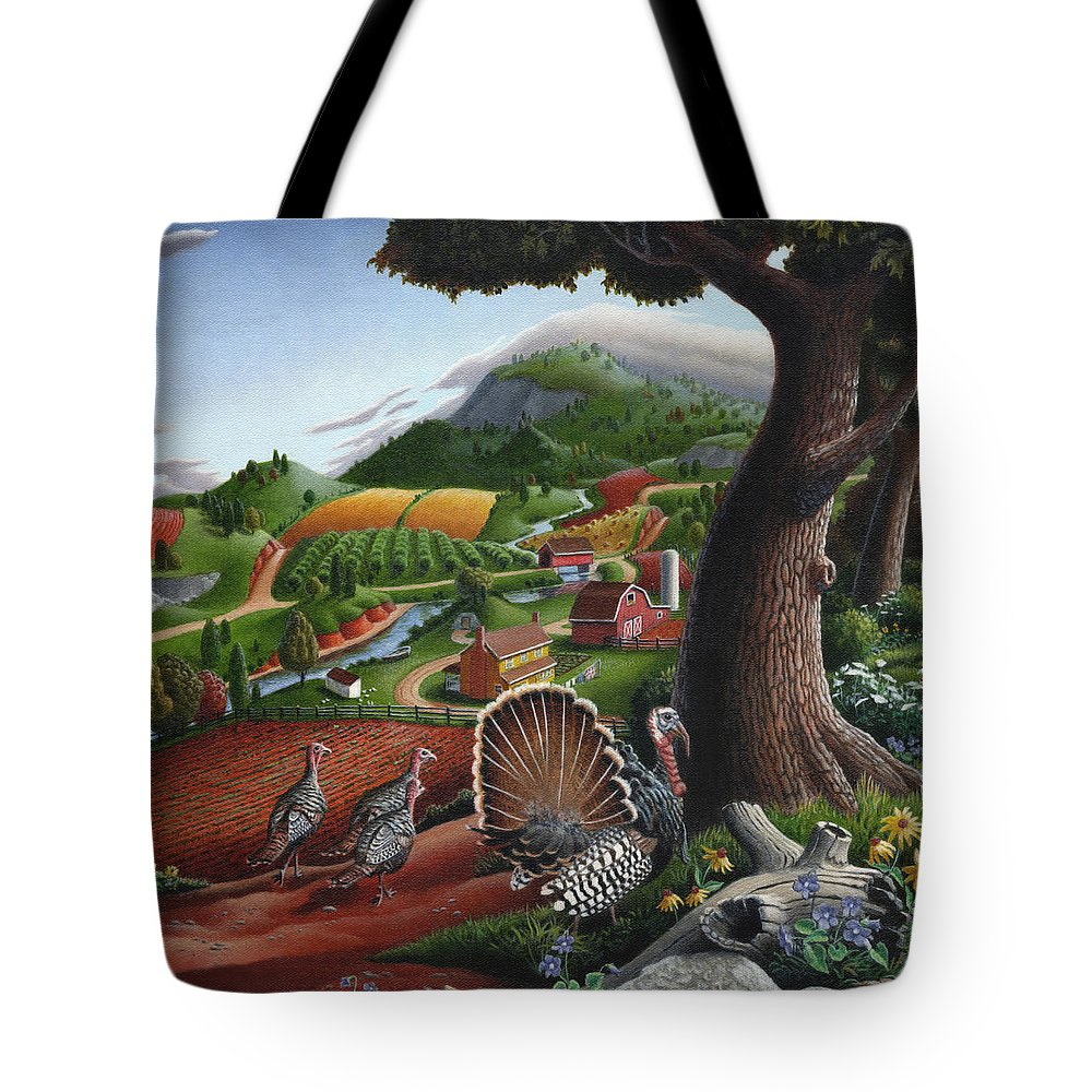 Wild Turkey Tote Bag featuring the painting Wild Turkeys Appalachian Thanksgiving Landscape - Childhood Memories - Country Life - Americana by Walt Curlee