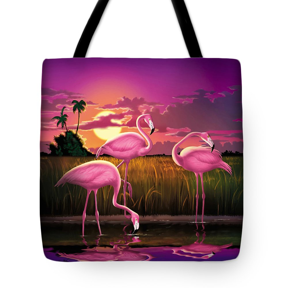 Flamingoes Tote Bag featuring the photograph Flamingoes Flamingos Tropical Sunset Landscape Florida Everglades Large Hot Pink Purple Print by Walt Curlee