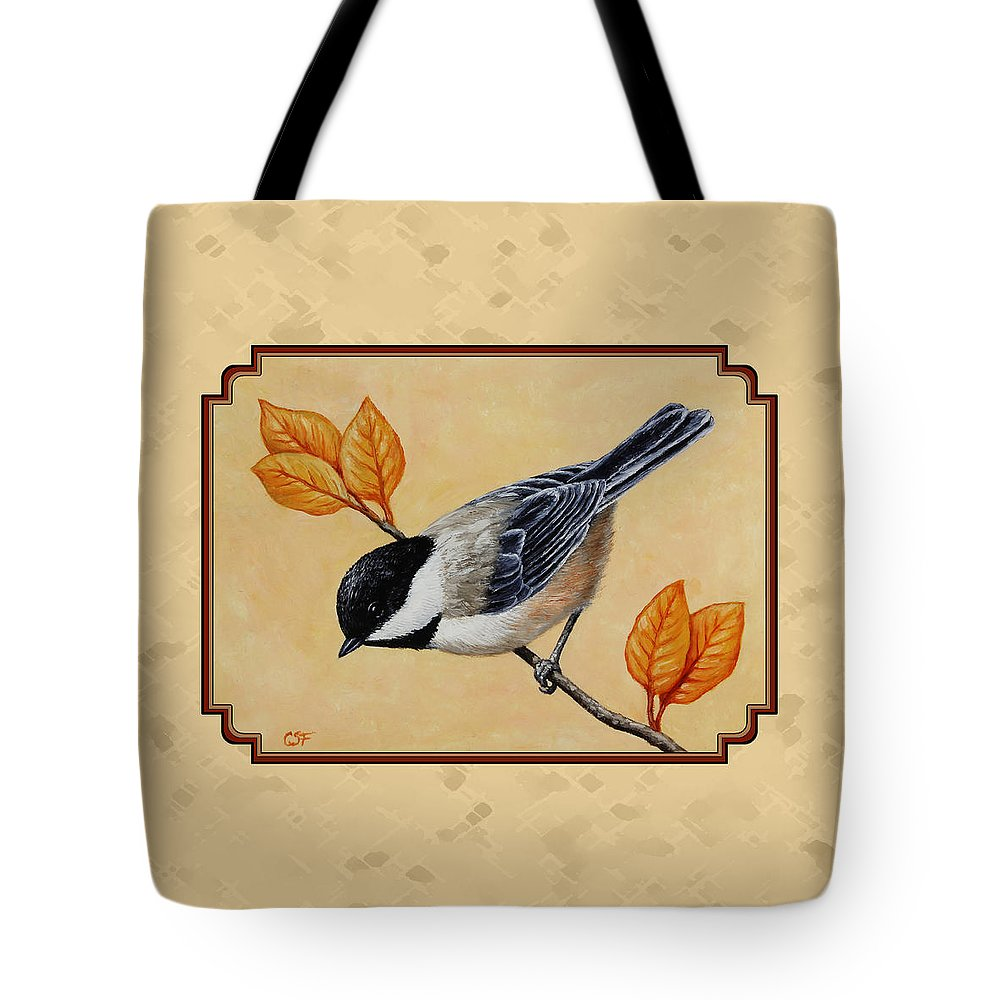 Bird Tote Bag featuring the painting Chickadee And Autumn Leaves by Crista Forest
