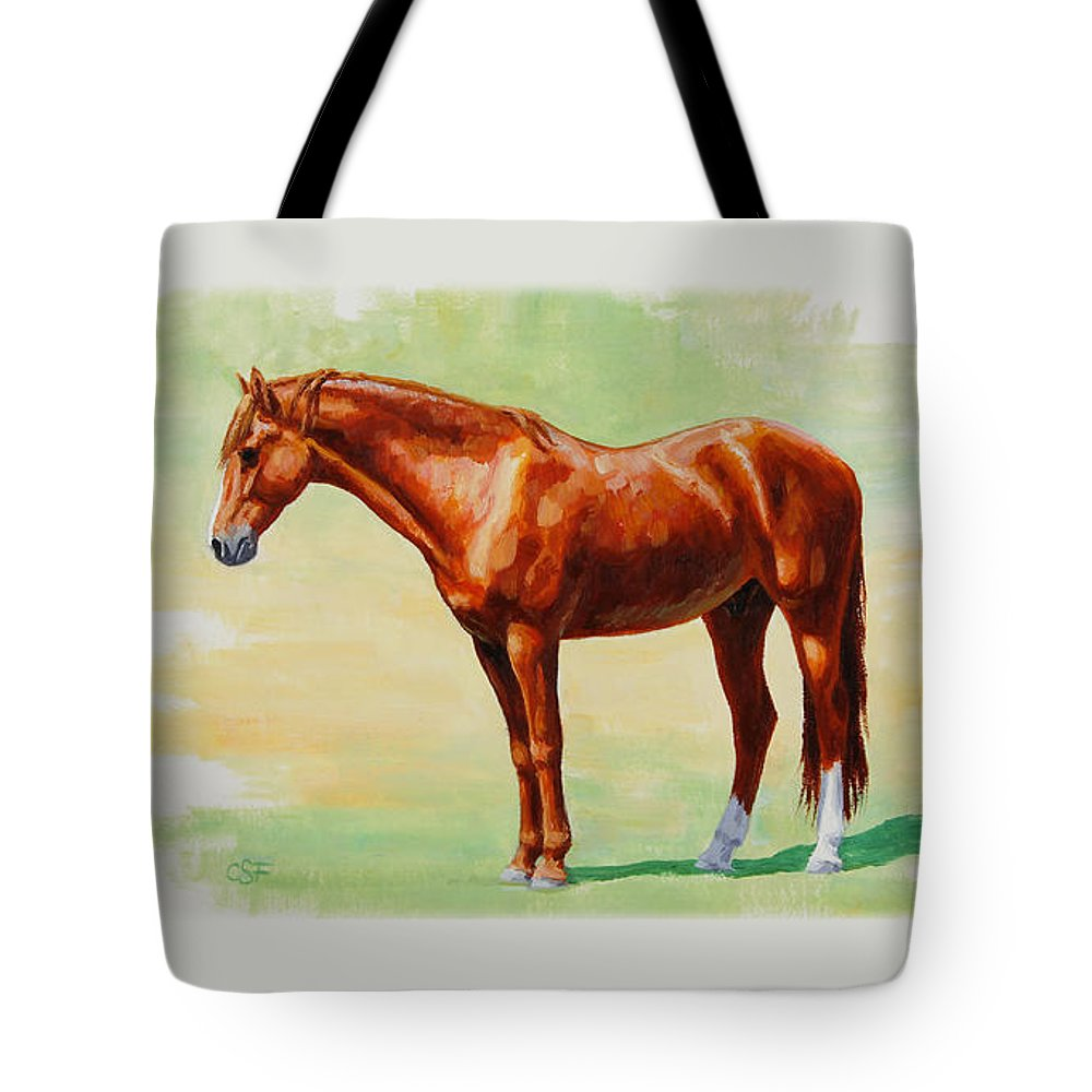Horse Tote Bag featuring the painting Roasting Chestnut - Morgan Horse by Crista Forest
