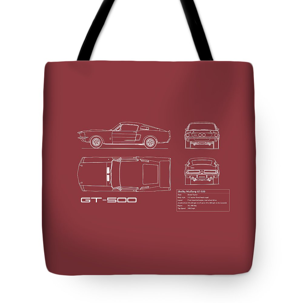 Ford Mustang Tote Bag featuring the photograph Shelby Mustang Gt500 Blueprint - Red by Mark Rogan