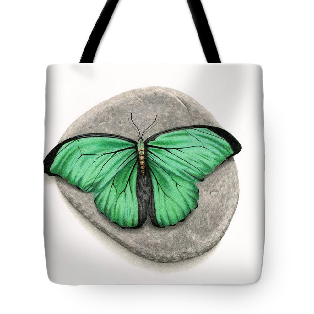 Butterfly Tote Bag featuring the painting Mito Awareness Butterfly- A Symbol Of Hope by Sarah Batalka