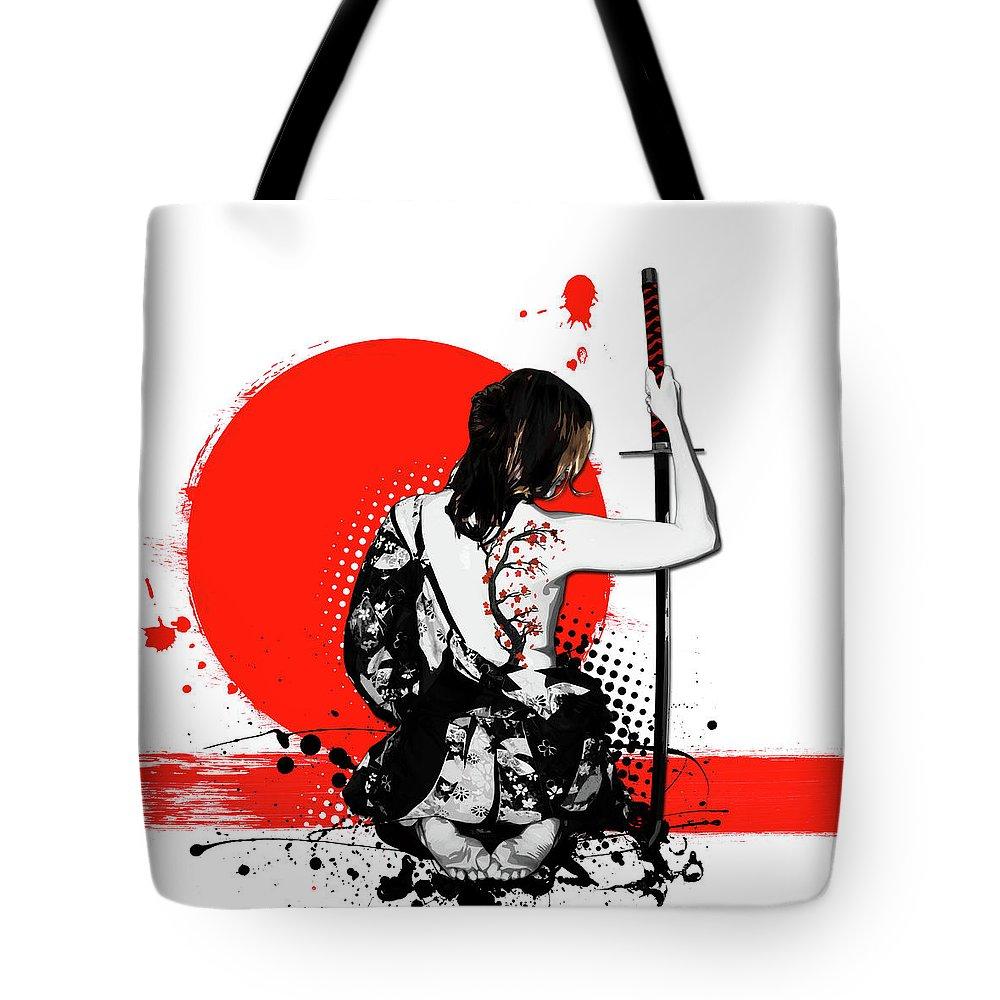 Samurai Tote Bag featuring the digital art Trash Polka - Female Samurai by Nicklas Gustafsson