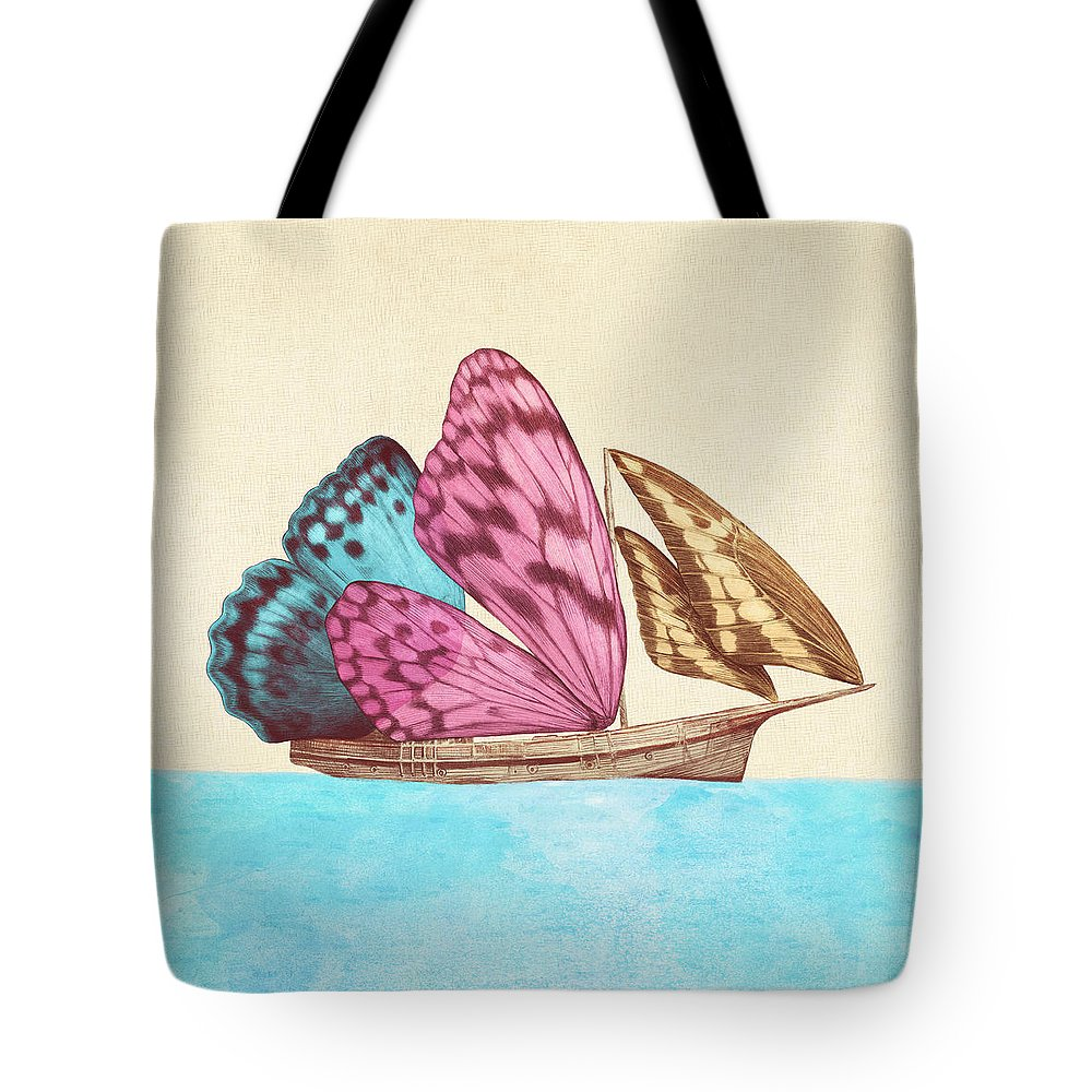 Butterfly Tote Bag featuring the drawing Butterfly Ship by Eric Fan