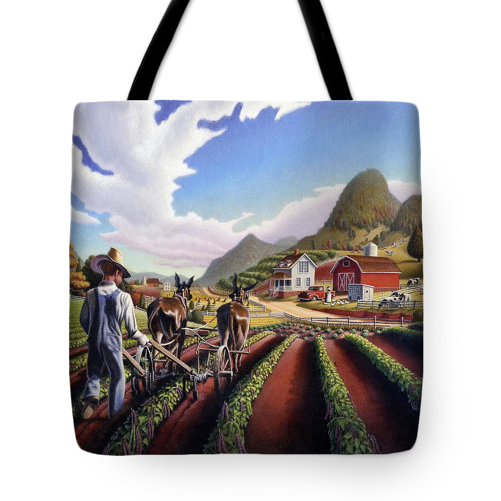 Appalachian Tote Bag featuring the painting Appalachian Folk Art Summer Farmer Cultivating Peas Farm Farming Landscape Appalachia Americana by Walt Curlee