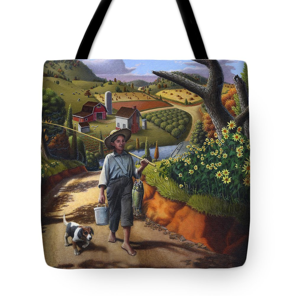 Boy And Dog Tote Bag featuring the painting Boy And Dog Farm Landscape - Flashback - Childhood Memories - Americana - Painting - Walt Curlee by Walt Curlee