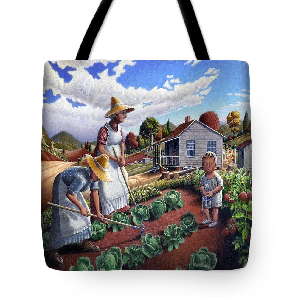Farm Family Tote Bag featuring the painting Family Vegetable Garden Farm Landscape - Gardening - Childhood Memories - Flashback - Homestead by Walt Curlee