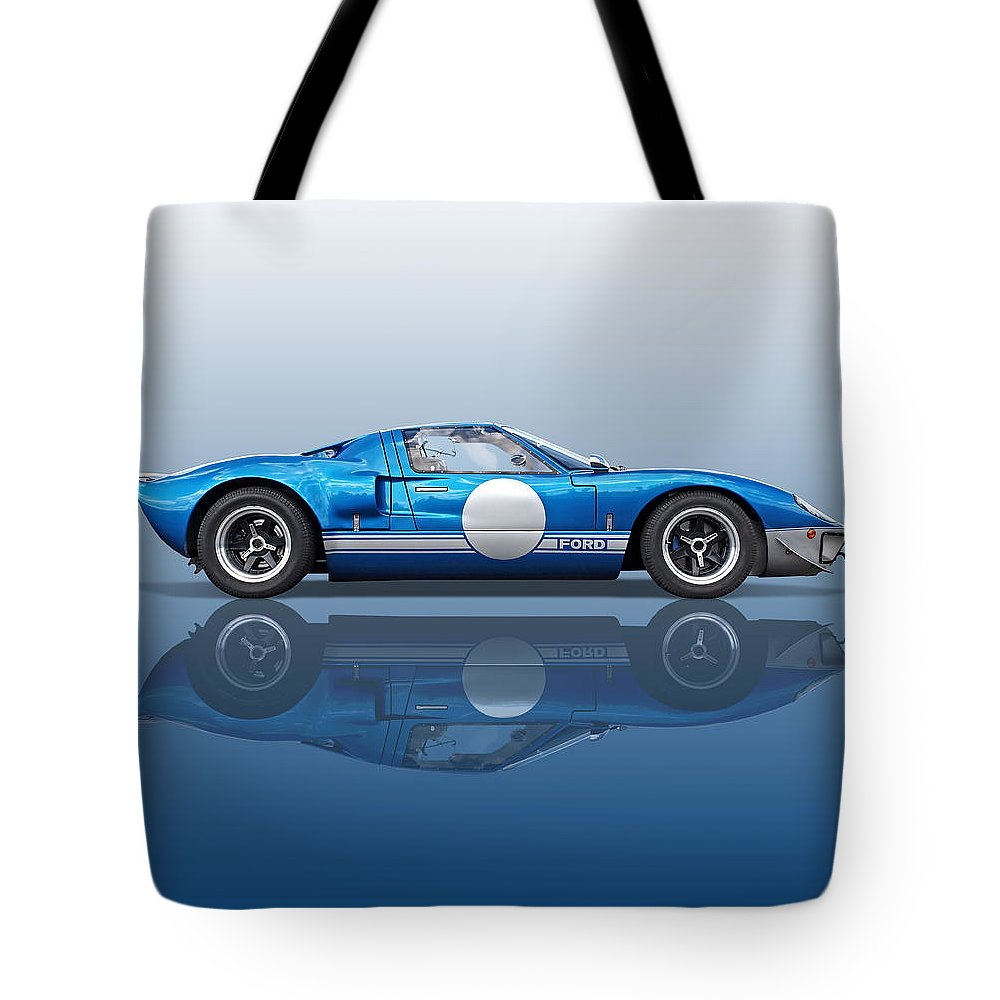 Ford Gt40 Tote Bag featuring the photograph Blue Reflections - Ford Gt40 by Gill Billington