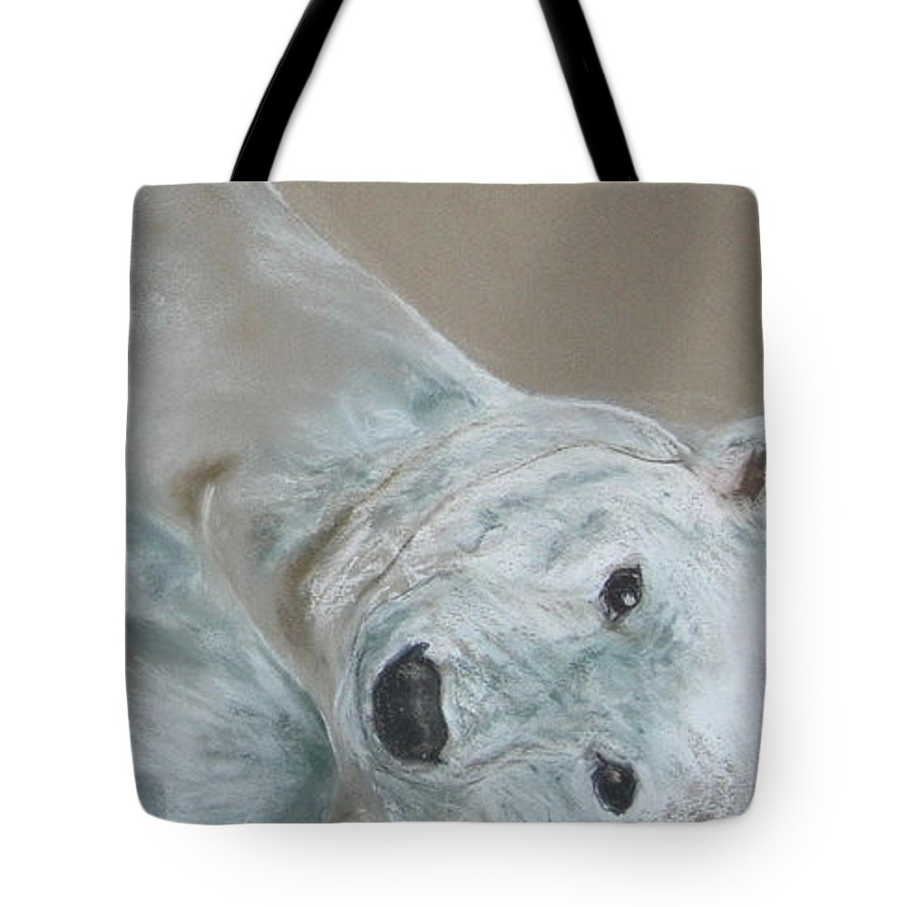Polar Bear Tote Bag featuring the drawing Arctic Frolic by Cori Solomon