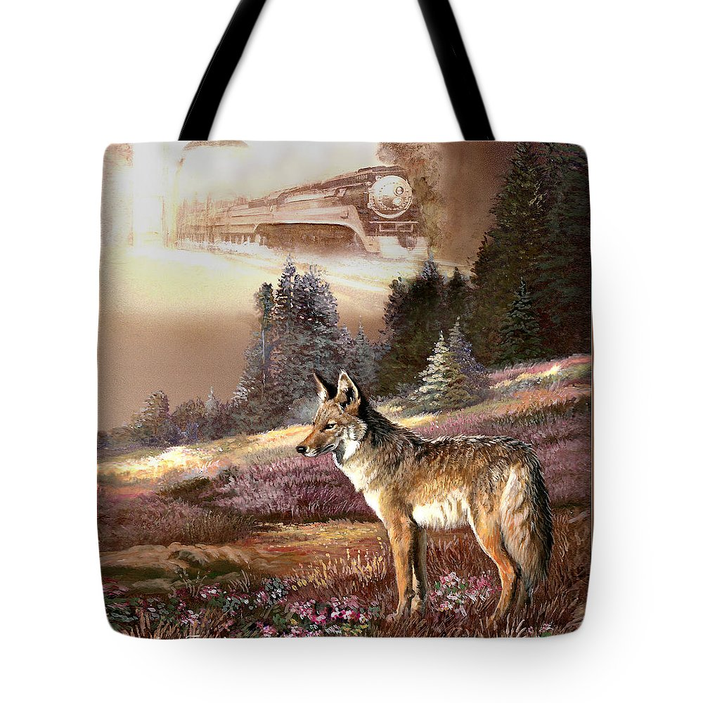 Animal Painting Tote Bag featuring the painting Encounter With The Iron Hors by Regina Femrite