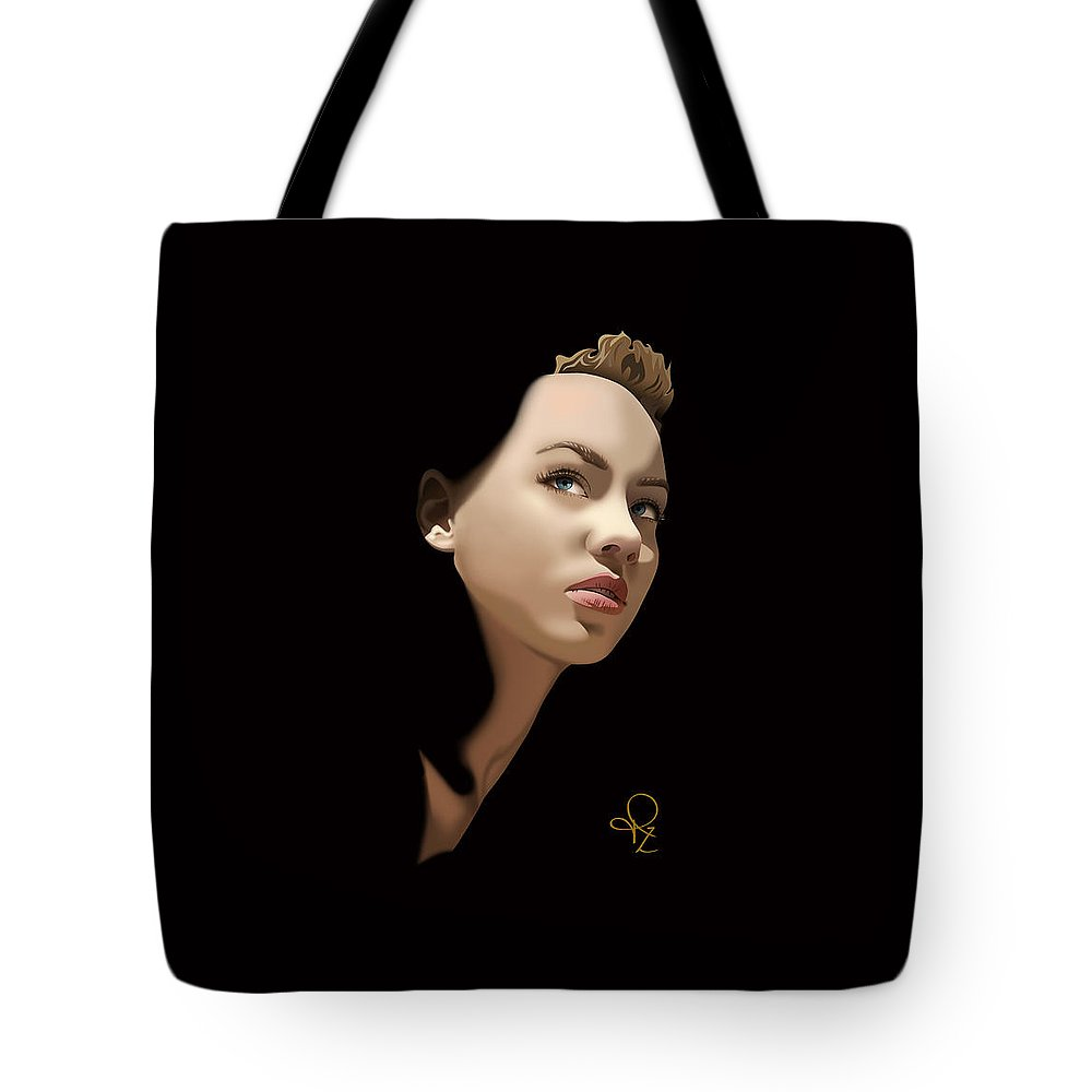Black Tote Bag featuring the digital art 'gaze' by Jeannie Rodriguez