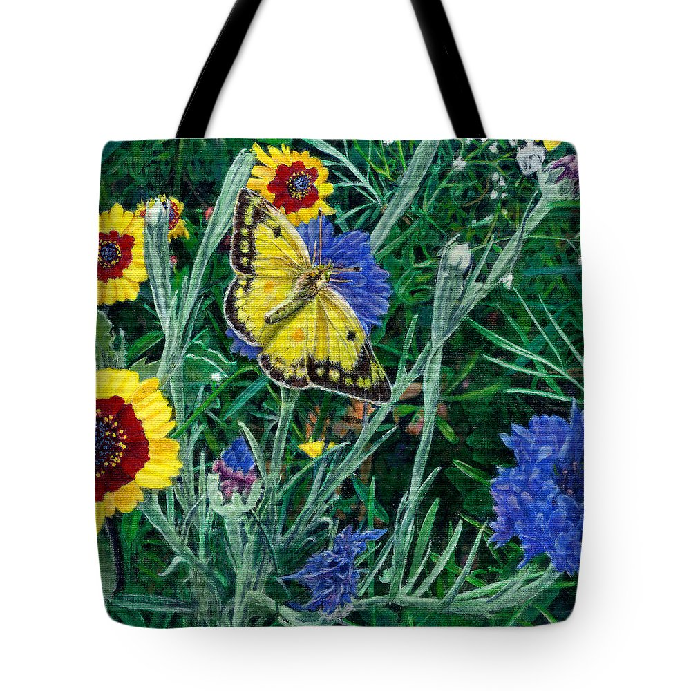 Garden Tote Bag featuring the painting Butterfly Wildflowers Spring Time Garden Floral Oil Painting Green Yellow by Walt Curlee