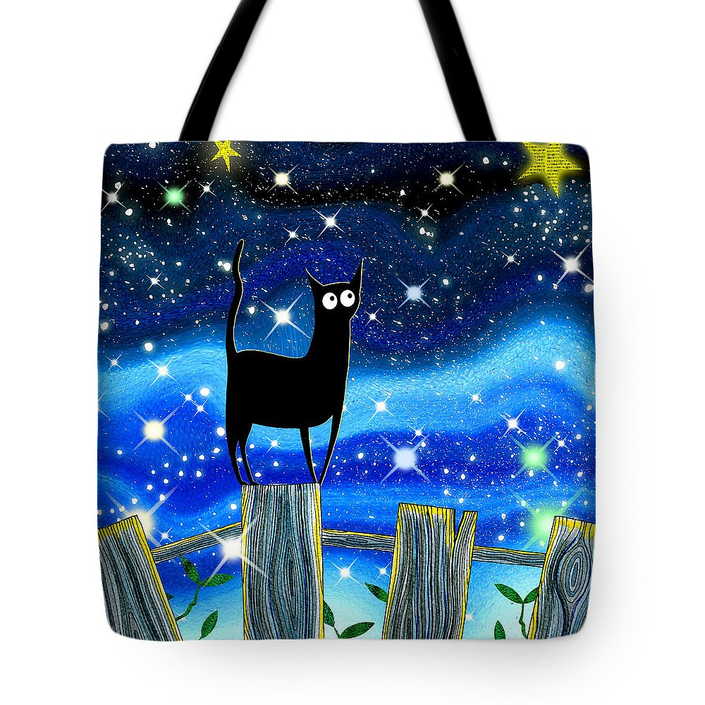 Sky Tote Bag featuring the mixed media Paper Stars by Andrew Hitchen